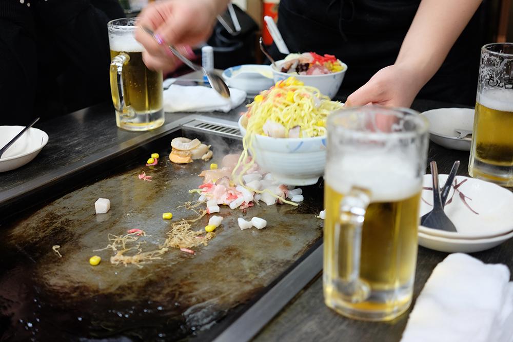 Okonomiyaki in Tsukishima, Tokyo